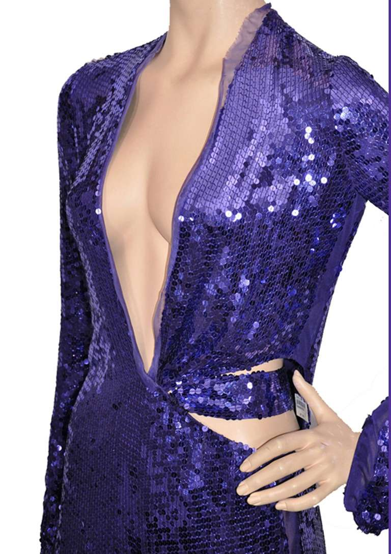 Purple Tom Ford for Gucci purple sequin gown, 2004  For Sale