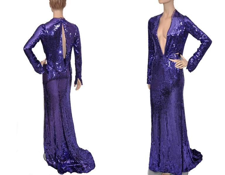 Tom Ford for Gucci purple sequin gown, 2004  In New Condition For Sale In Montgomery, TX