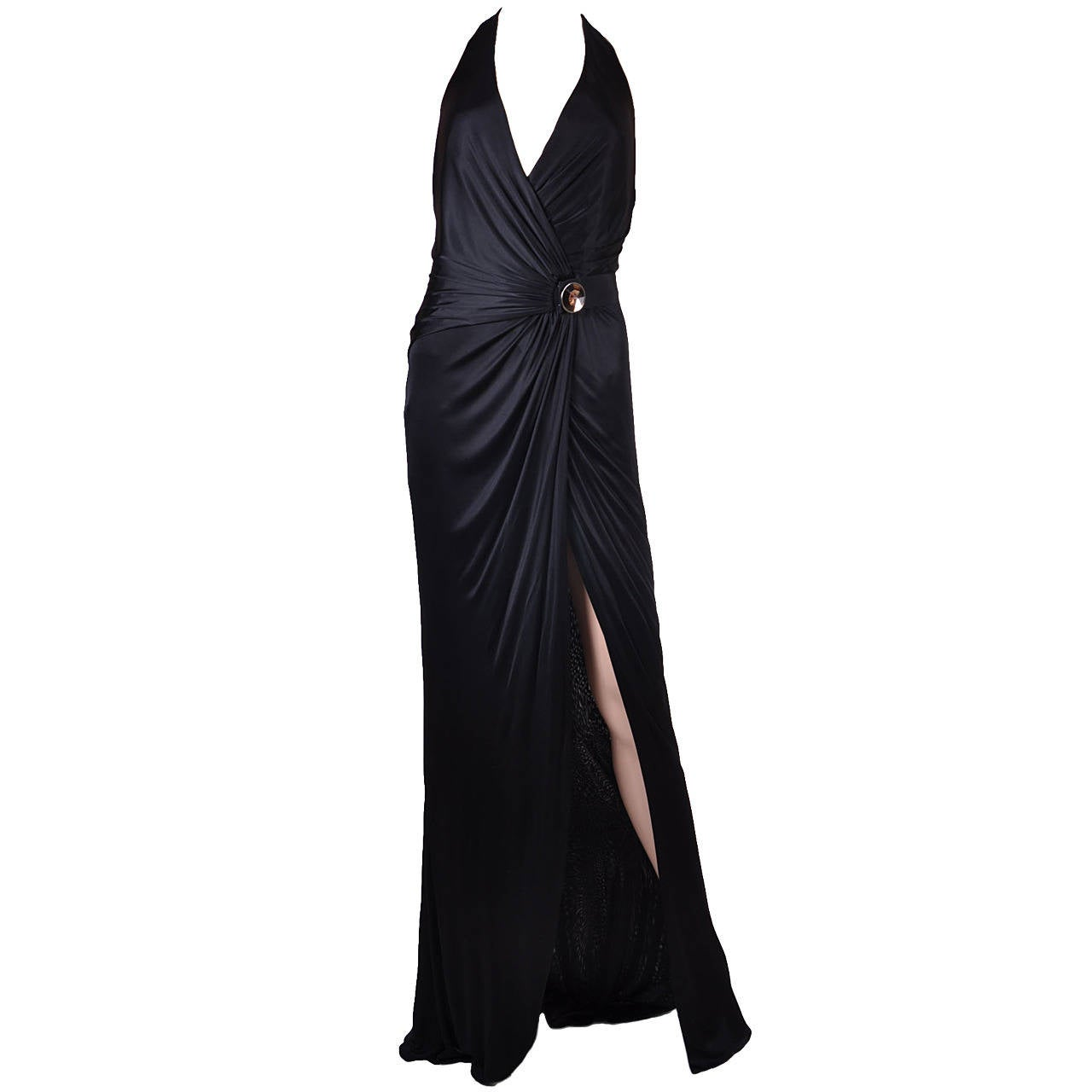 New VERSACE BLACK WRAP GOWN 1