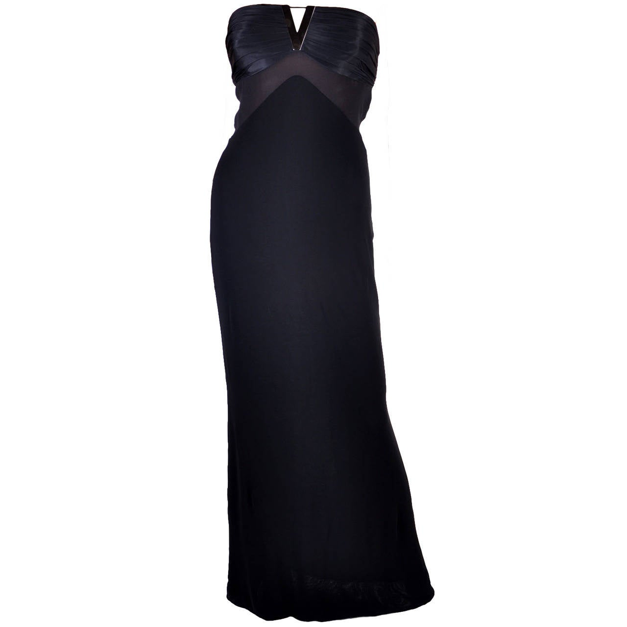 New VERSACE BLACK STRAPLESS DRESS GOWN For Sale