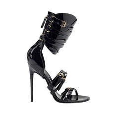 Tom Ford Gladiator Triple-Buckle Black Patent Leather Sandals