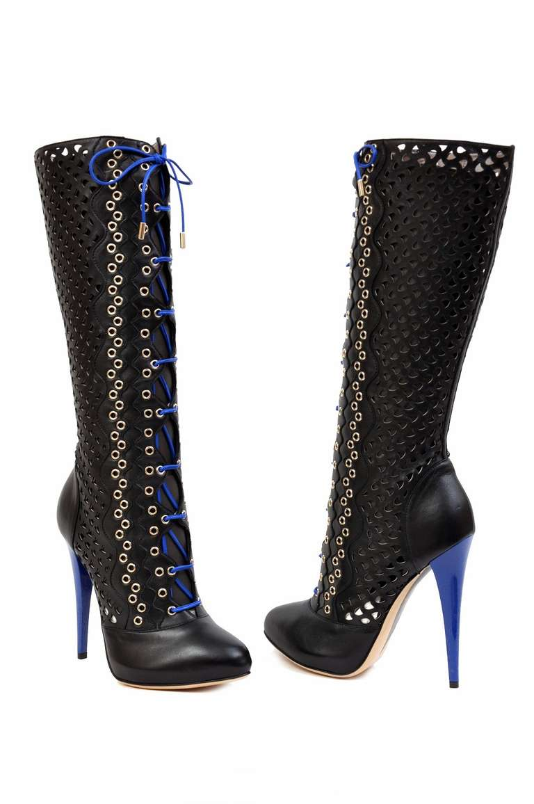VERSACE  Perforated leather boots    IT Size: 37  Heel 5 1/4