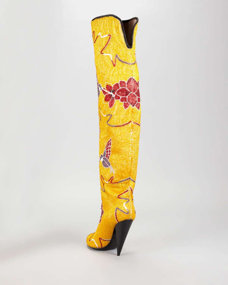 Tom Ford Hummingbird & Floral Fully Embroidered Over-the-Knee Boots 3