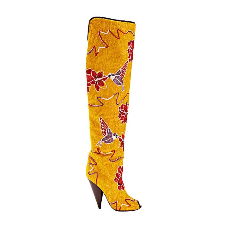 Tom Ford Hummingbird & Floral Fully Embroidered Over-the-Knee Boots 1