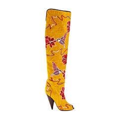 Tom Ford Hummingbird & Floral Fully Embroidered Over-the-Knee Boots