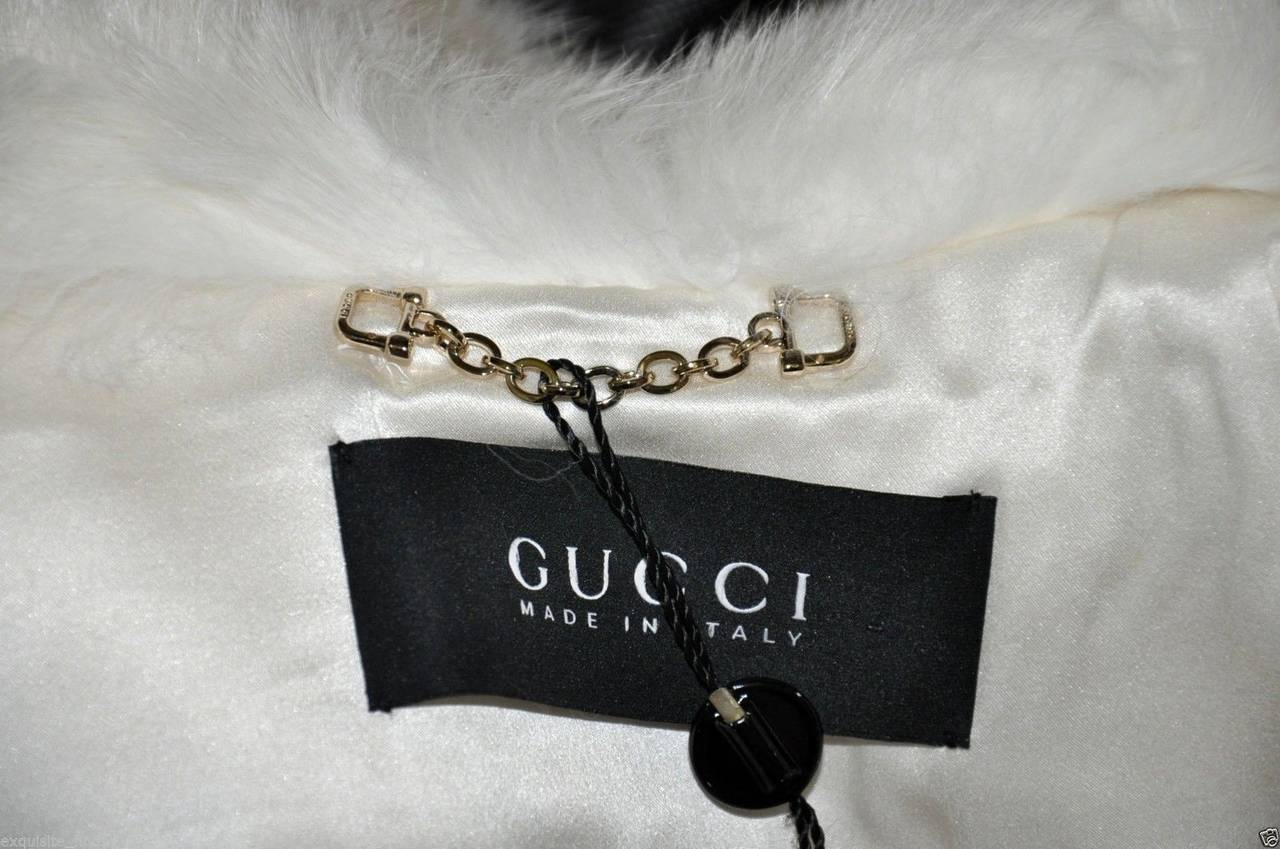 Gucci Pearl Fox Fur and Crocodile Jacket For Sale 4