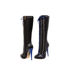 New VERSACE BLACK PERFORATED LEATHER PLATFORM BOOTS