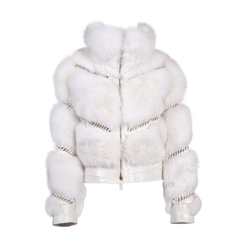 Gucci Pearl Fox Fur and Crocodile Jacket For Sale