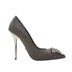 New VERSACE Black Leather Studded Pumps Shoes 38.5 - 8.5