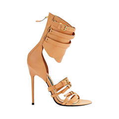 Tom Ford Gladiator Triple-Buckle Nude Leather Sandals