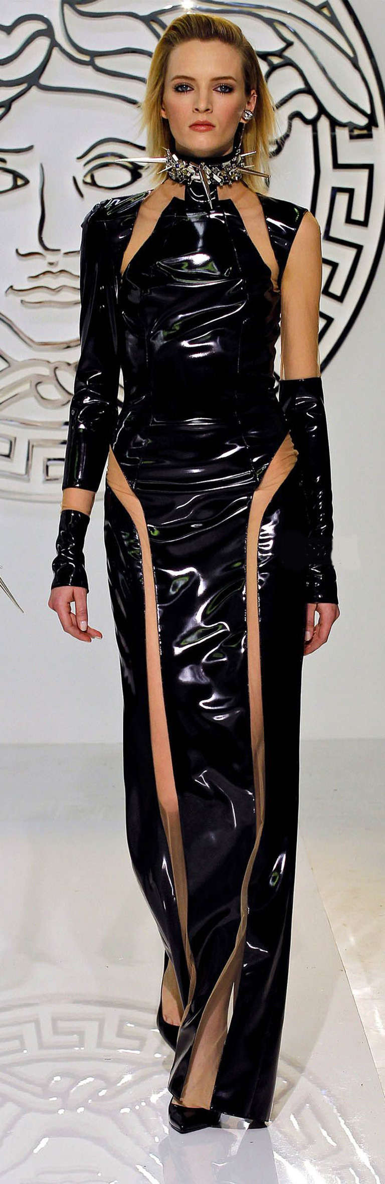 Versace Black Vinyl Bondage Dress at 1stdibs
