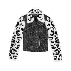 VERSACE Studded Leather Moto Jacket With Intarsia Mink Sleeves