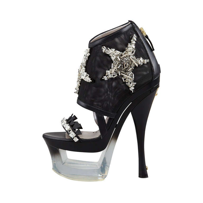 VERSACE Black Mesh an Plexiglass-Platform Shoes with Crystal Starfish