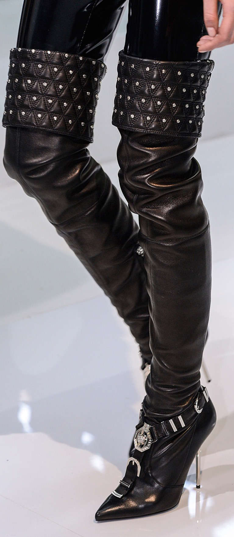 "VERSACE ""Chelsea"" Studded Black Leather Thigh High Boots For Sale"