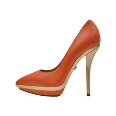 VERSACE Orange Leather Gold Platform Pumps