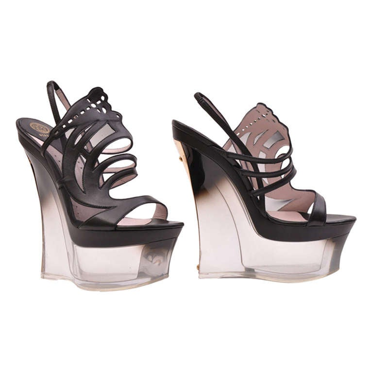 Versace plexiglass Platform Wedge Shoes