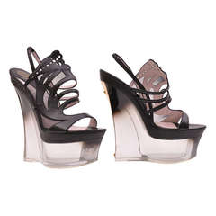 Versace plexiglass Platform Wedge Shoes