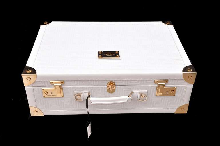 New GIANNI VERSACE COUTURE EMBROIDERED WHITE LEATHER SUITCASE 3