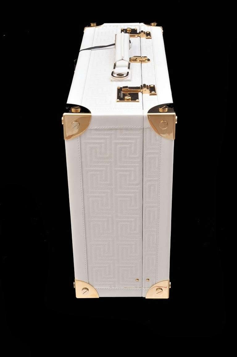 New GIANNI VERSACE COUTURE EMBROIDERED WHITE LEATHER SUITCASE 4