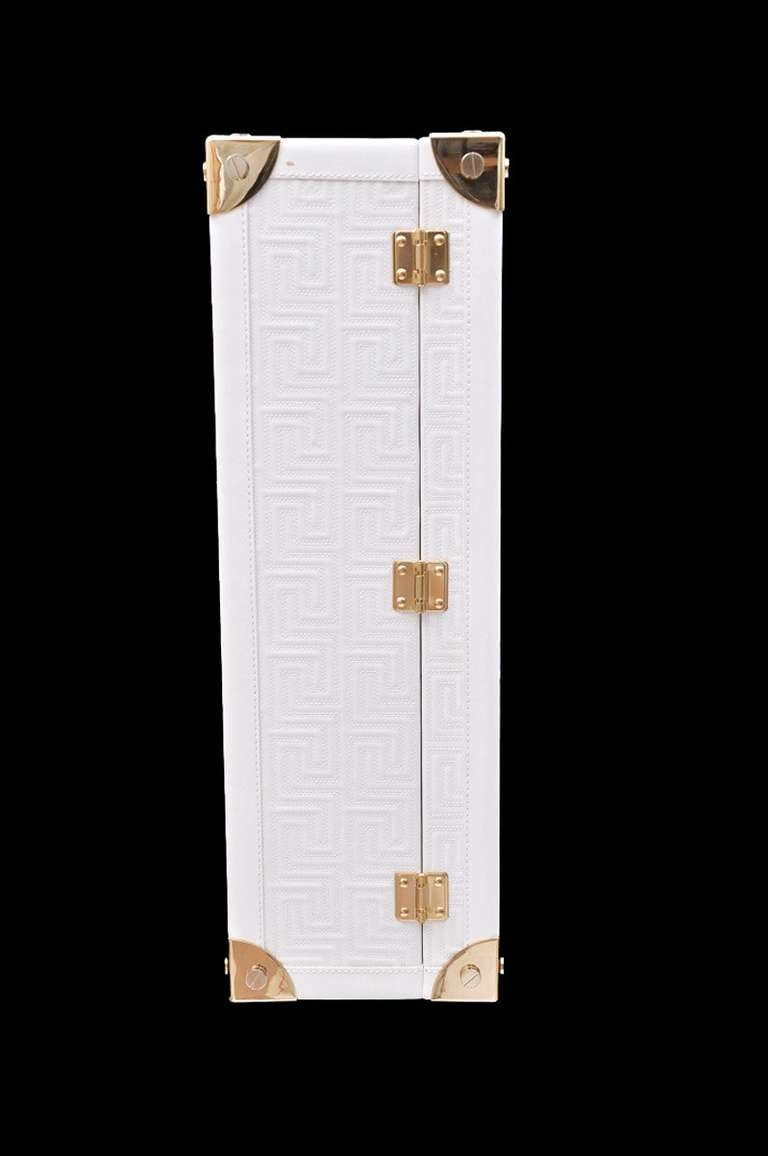 New GIANNI VERSACE COUTURE EMBROIDERED WHITE LEATHER SUITCASE 5