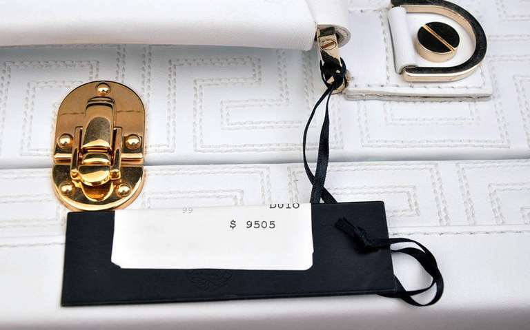 New GIANNI VERSACE COUTURE EMBROIDERED WHITE LEATHER SUITCASE 6