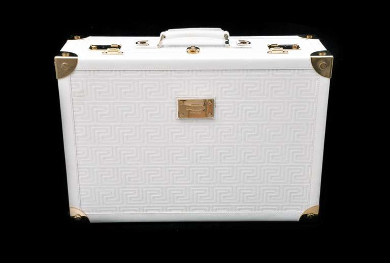 New GIANNI VERSACE COUTURE EMBROIDERED WHITE LEATHER SUITCASE 7