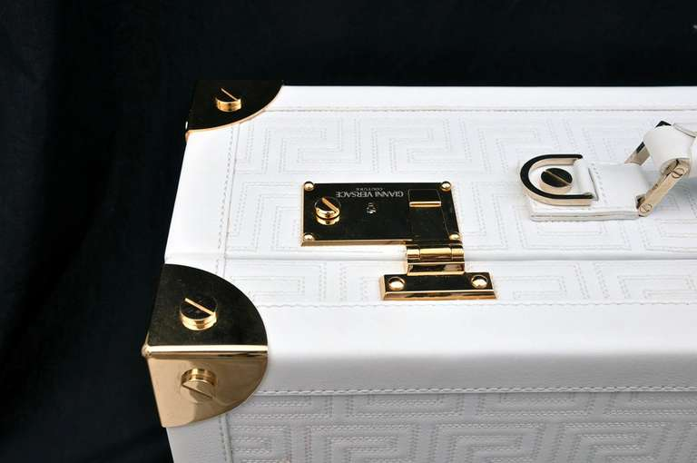 New GIANNI VERSACE COUTURE EMBROIDERED WHITE LEATHER SUITCASE 8
