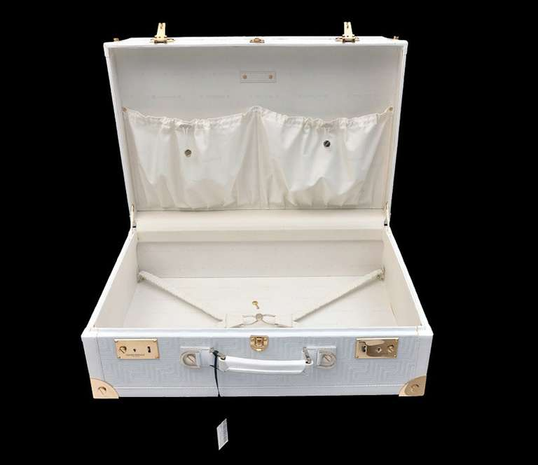 New GIANNI VERSACE COUTURE EMBROIDERED WHITE LEATHER SUITCASE 9