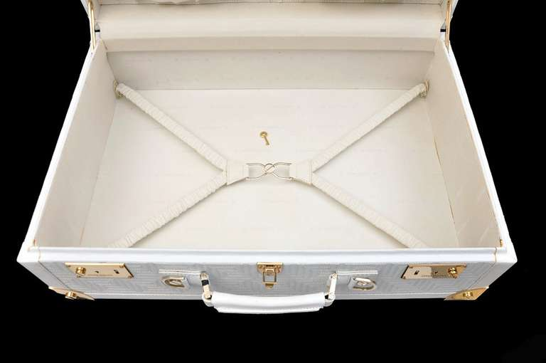 New GIANNI VERSACE COUTURE EMBROIDERED WHITE LEATHER SUITCASE 10