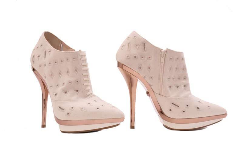 VERSACE Ivory Eyelet Canvas Metallic Platform Booties 2