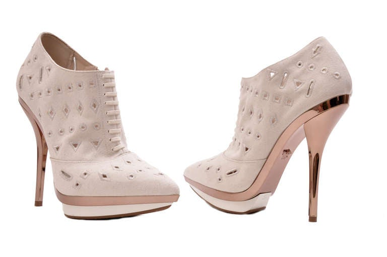 Beige Versace Ivory Eyelet Canvas Metallic Platform Booties For Sale