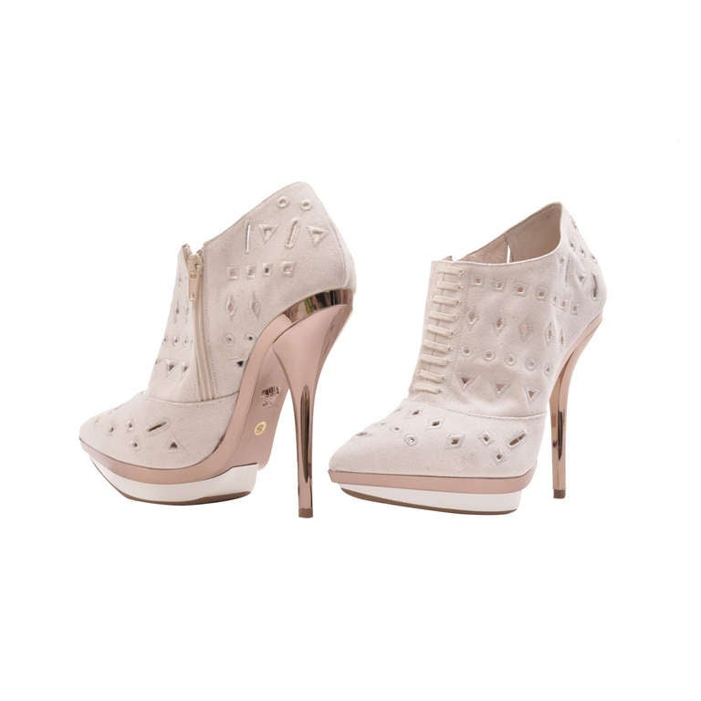 VERSACE Ivory Eyelet Canvas Metallic Platform Booties 1