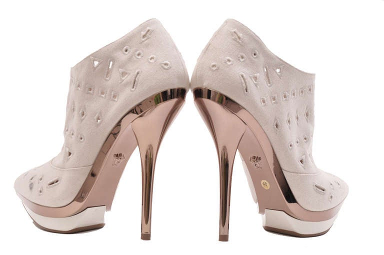 VERSACE Ivory Eyelet Canvas Metallic Platform Booties 5