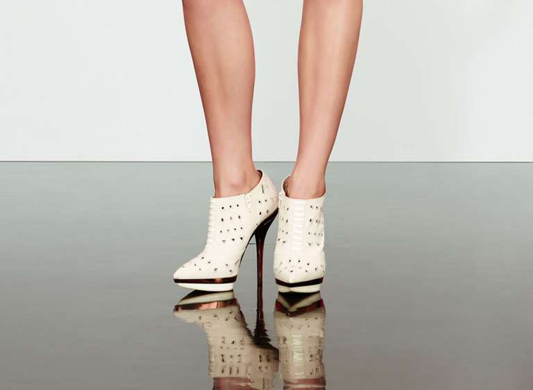 VERSACE Ivory Eyelet Canvas Metallic Platform Booties 6
