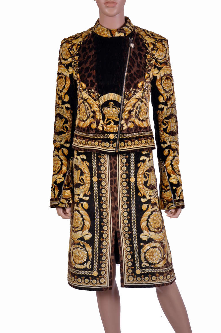 Versace Baroque Printed Velvet Jacket And Skirt Suit For