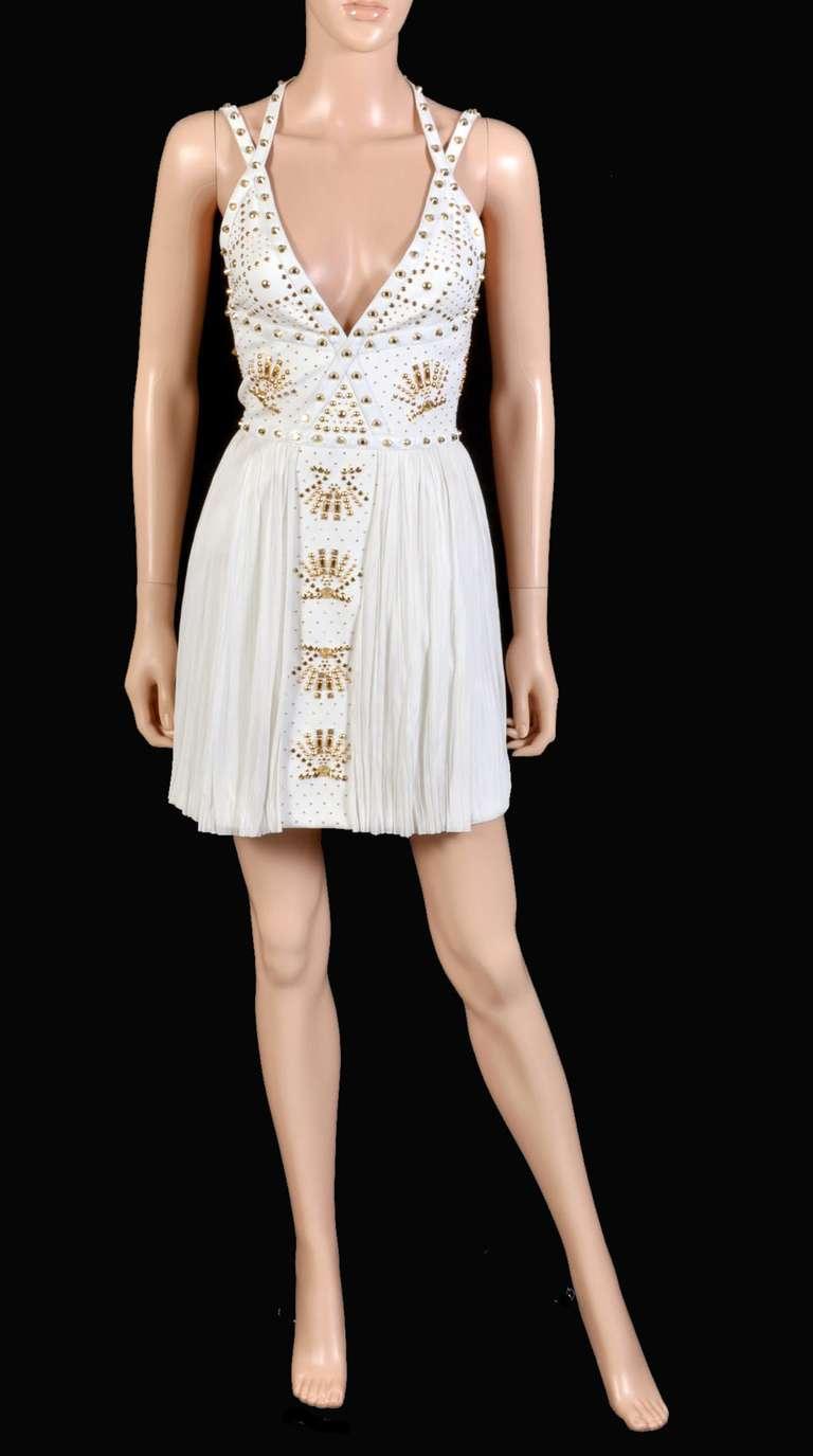 New VERSACE White Leather-trimmed studded plissé dress 3
