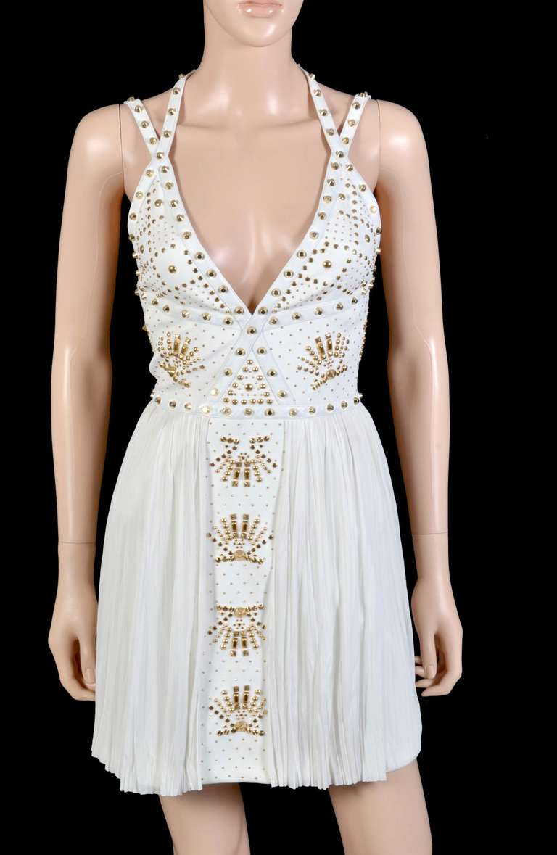 New VERSACE White Leather-trimmed studded plissé dress 4