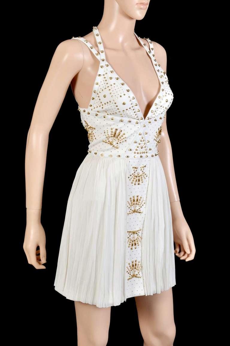 New VERSACE White Leather-trimmed studded plissé dress 6