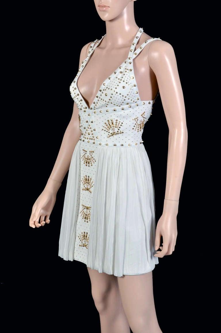 New VERSACE White Leather-trimmed studded plissé dress 7
