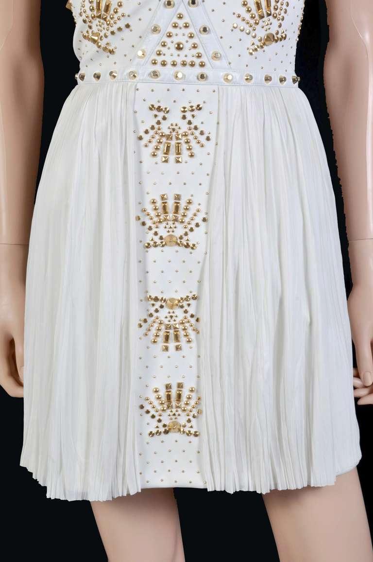 New VERSACE White Leather-trimmed studded plissé dress 9