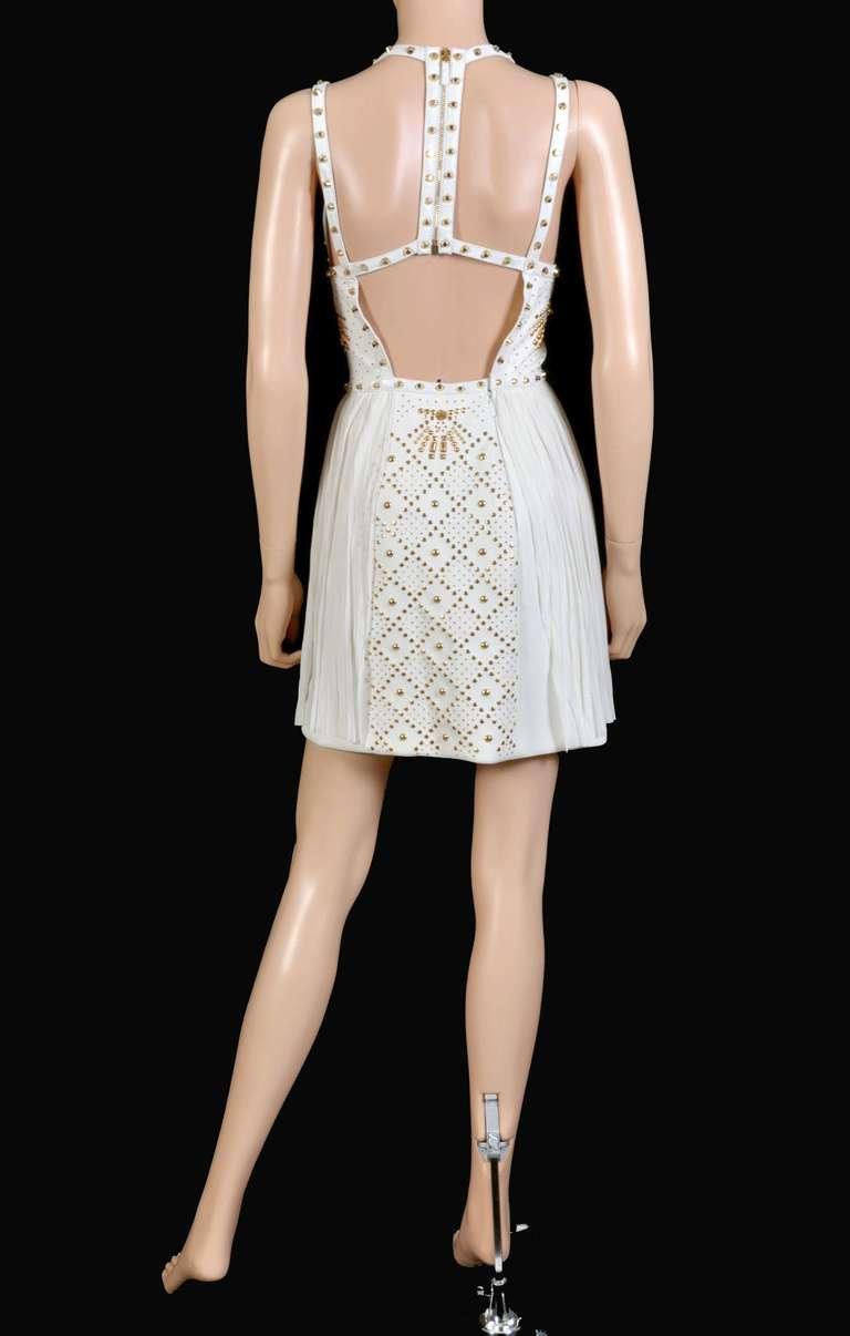 New VERSACE White Leather-trimmed studded plissé dress 10