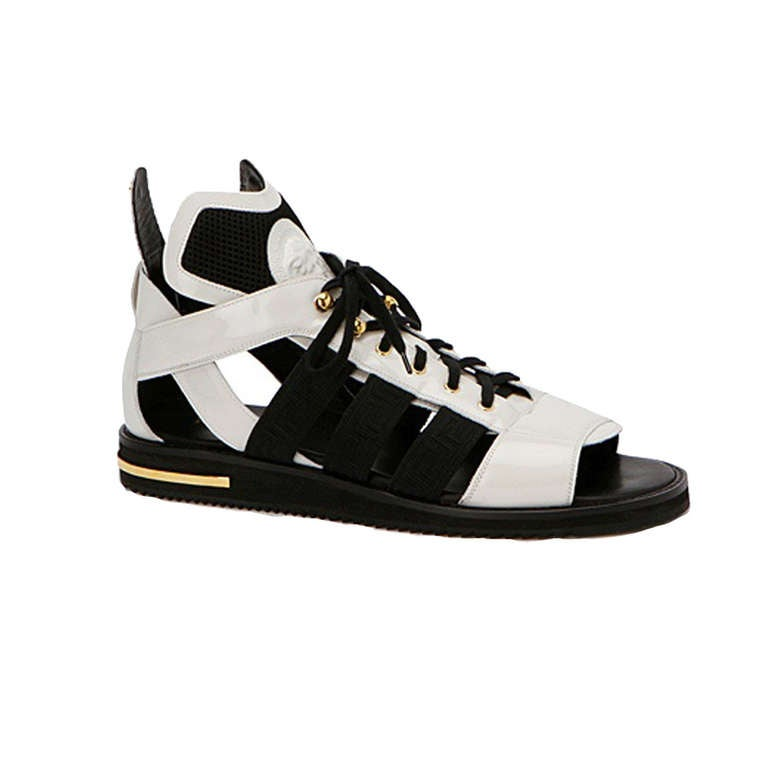 9ef859e3060 New VERSACE HIGH WHITE LEATHER GLADIATOR SANDALS at 1stdibs