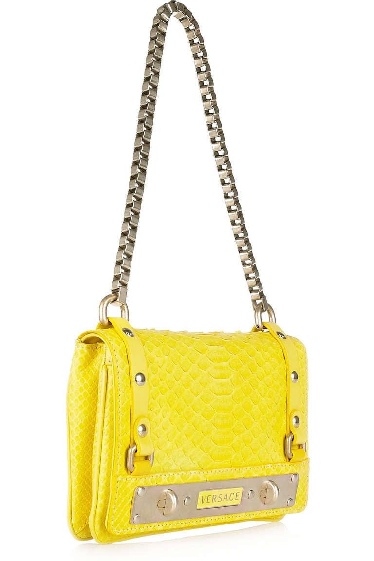 New Versace Yellow Python Handbag At 1stdibs