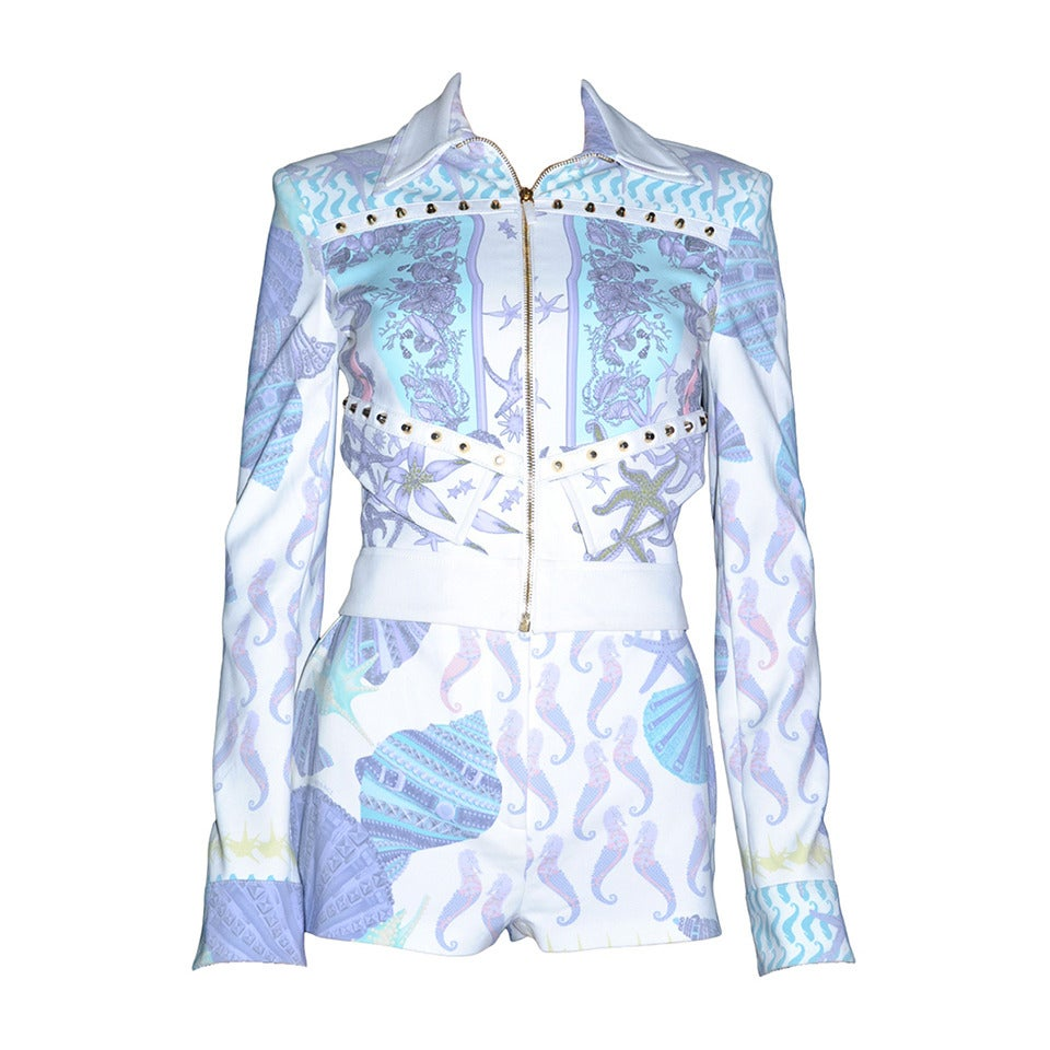 VERSACE Seashell Print Jacket and Shorts Suit