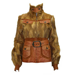 CAVALLI WEASEL FUR and LEATHER  BELTED JACKET
