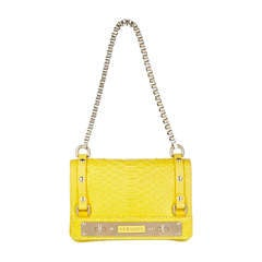 New VERSACE Yellow Python Handbag