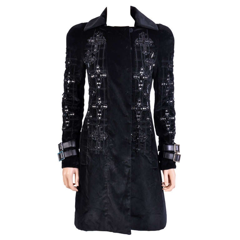 New VERSACE Black Velvet Crystal Gothic Cross Embellished Flared Coat