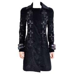 New VERSACE Black Velvet Crystal Gothic Cross Embellished Flared Coat