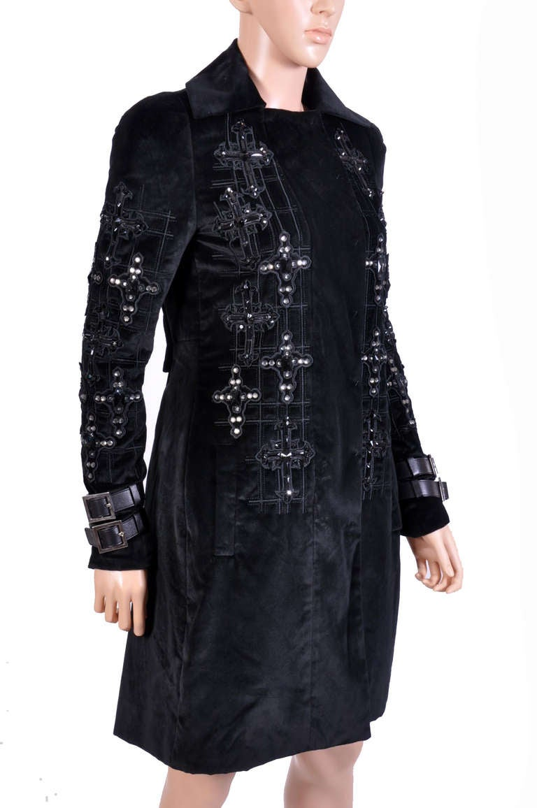 New VERSACE Black Velvet Crystal Gothic Cross Embellished Flared Coat In New never worn Condition For Sale In Montgomery, TX