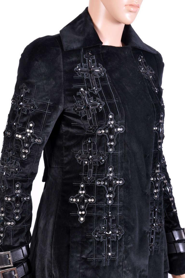 New VERSACE Black Velvet Crystal Cross Embellished Coat as seen on Donatella For Sale 1